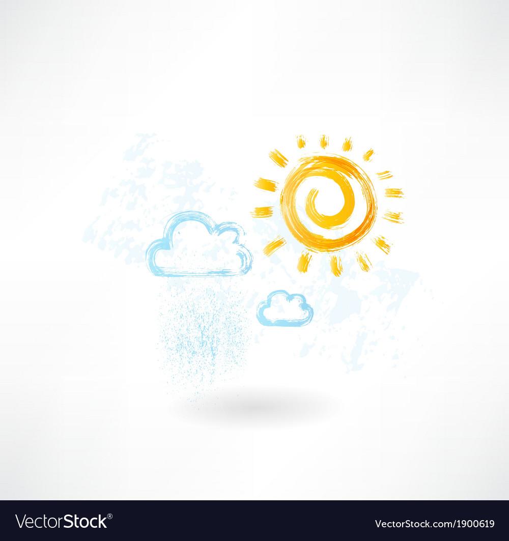 Cloud sun grunge icon vector | Price: 1 Credit (USD $1)