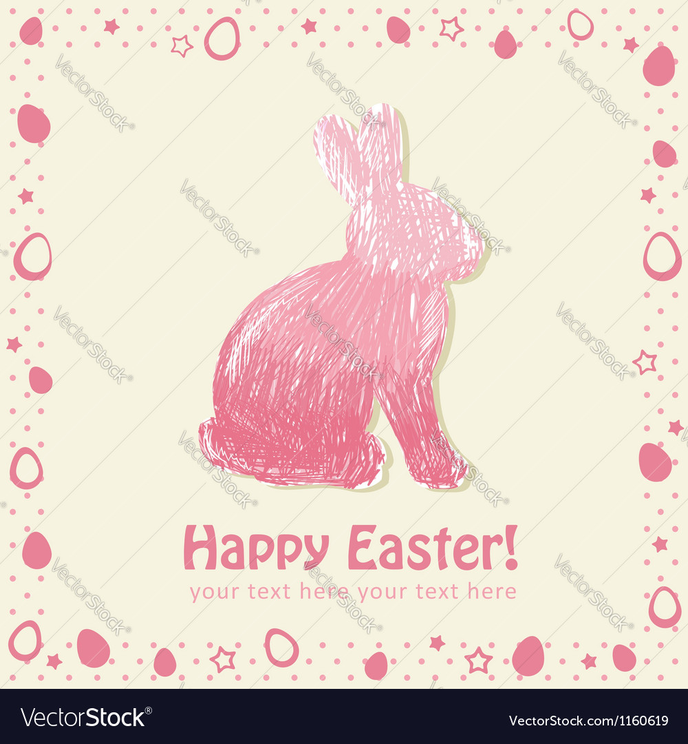 Easter cute scribble bunny silhouette hand drawn vector | Price: 1 Credit (USD $1)