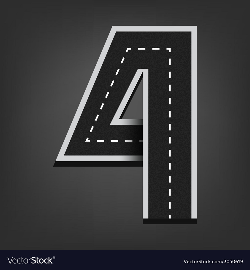Four number road font vector | Price: 1 Credit (USD $1)