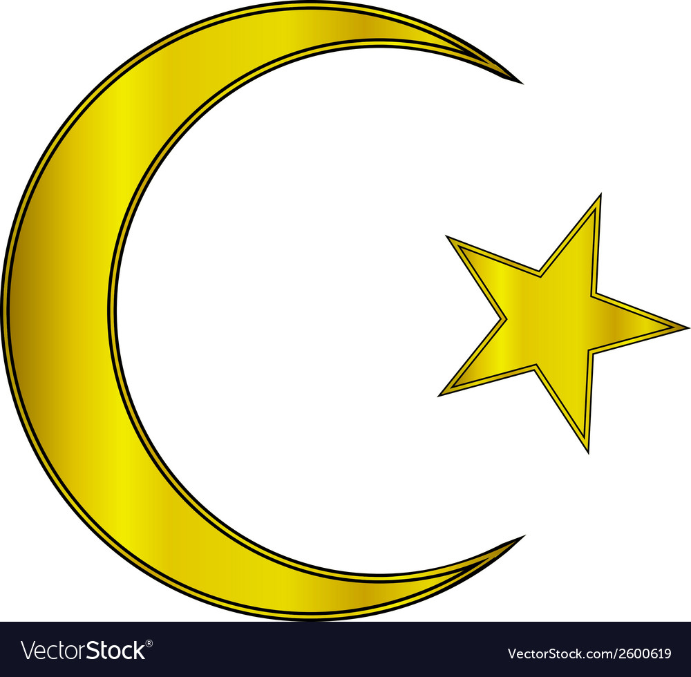 Gold star and crescent icon vector | Price: 1 Credit (USD $1)