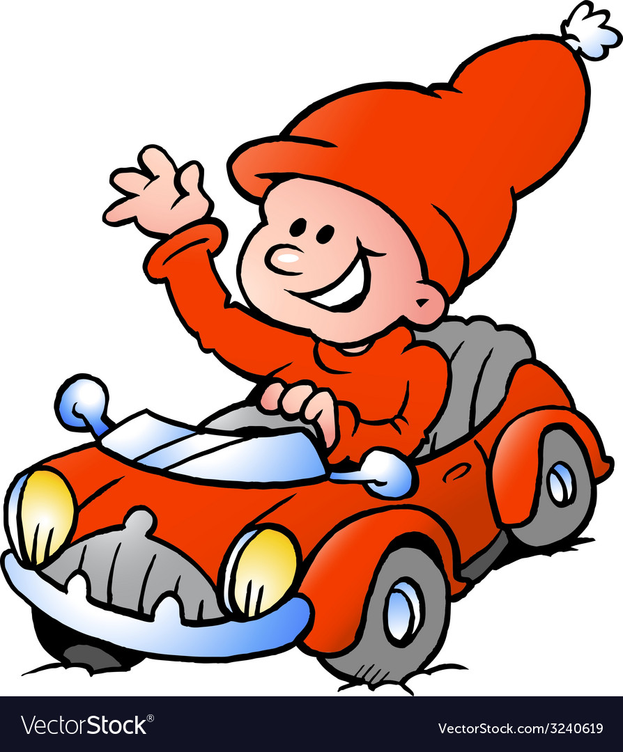 Hand-drawn of an happy christmas elf driving in a vector | Price: 1 Credit (USD $1)