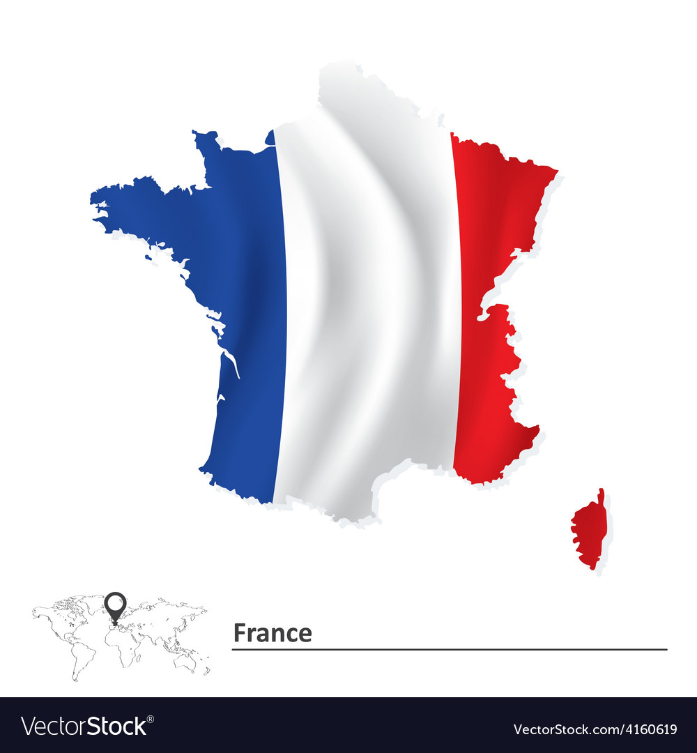 Map of france with flag vector | Price: 1 Credit (USD $1)