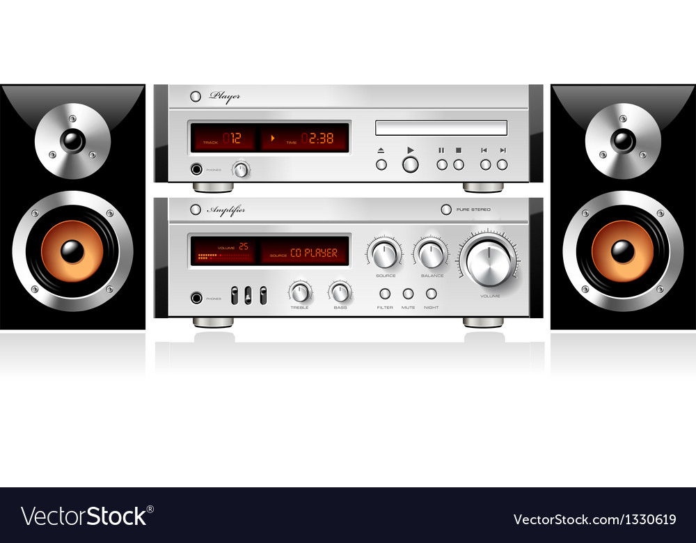 Music stereo audio sound components rack vector | Price: 1 Credit (USD $1)