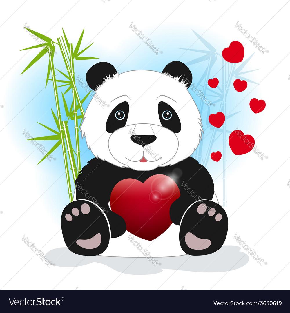 Panda keeps the heart vector | Price: 1 Credit (USD $1)