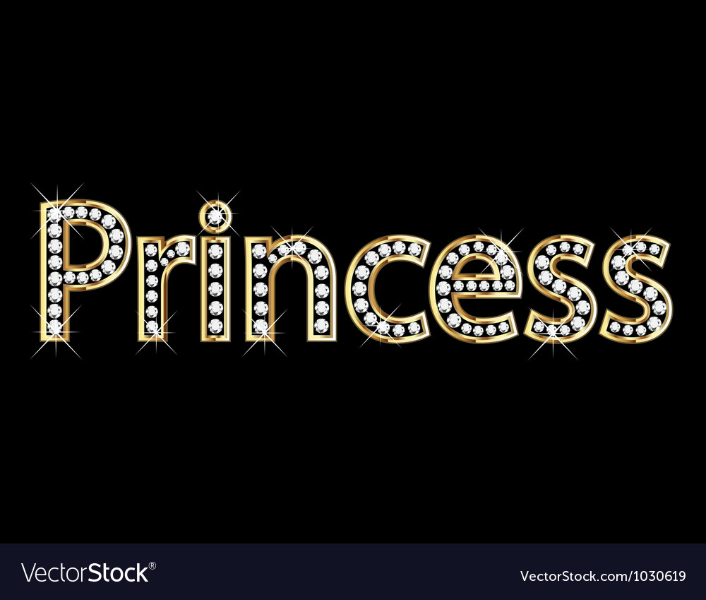 Princess word gold letters vector | Price: 1 Credit (USD $1)