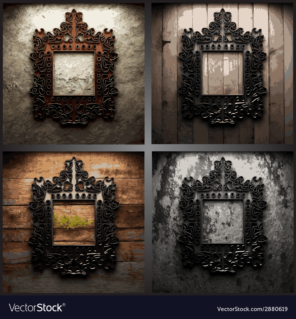 Retro metal frame on dirty wall vector | Price: 1 Credit (USD $1)