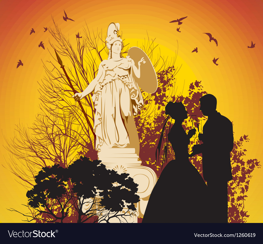 Wedding couple and the greek goddess vector | Price: 1 Credit (USD $1)