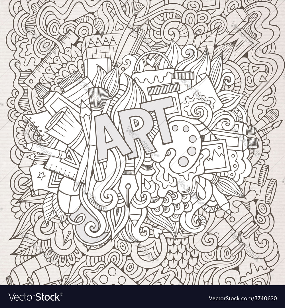 Art hand lettering and doodles elements background vector | Price: 1 Credit (USD $1)