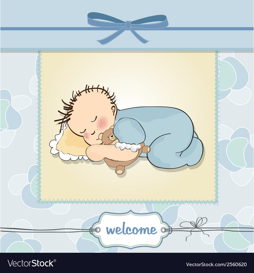 Baby shower card with little baby boy sleep with vector | Price: 1 Credit (USD $1)