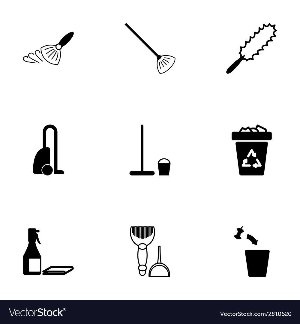Black cleaning icons set vector | Price: 1 Credit (USD $1)