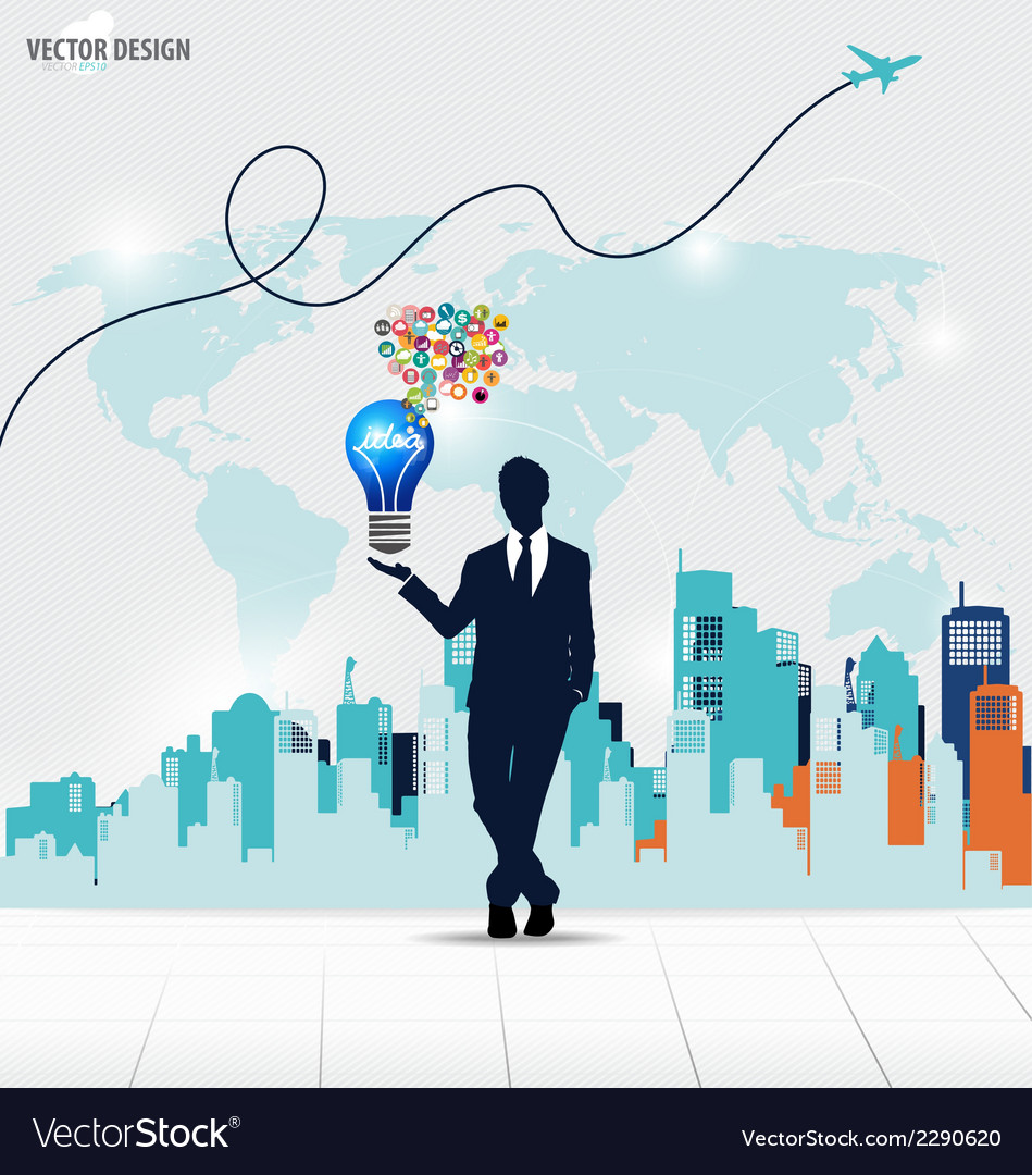 Businessman showing idea light bulb with cloud of vector | Price: 1 Credit (USD $1)