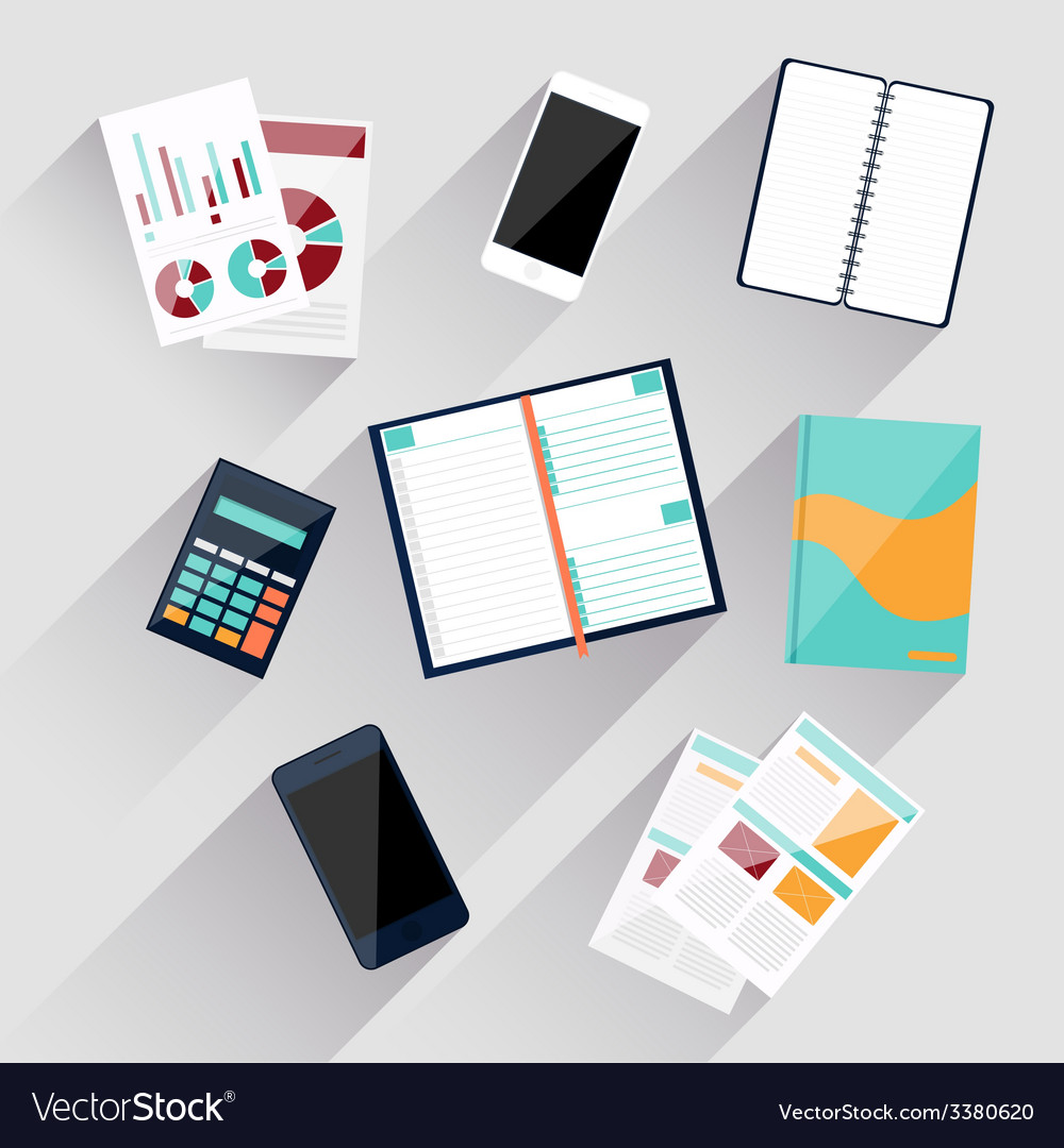 Calculator smartphone stationery and documents vector | Price: 1 Credit (USD $1)