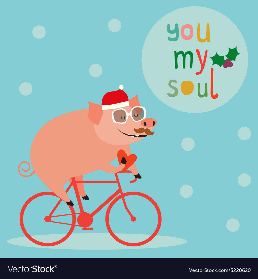 Cute holiday with pig on bicycle vector | Price: 1 Credit (USD $1)