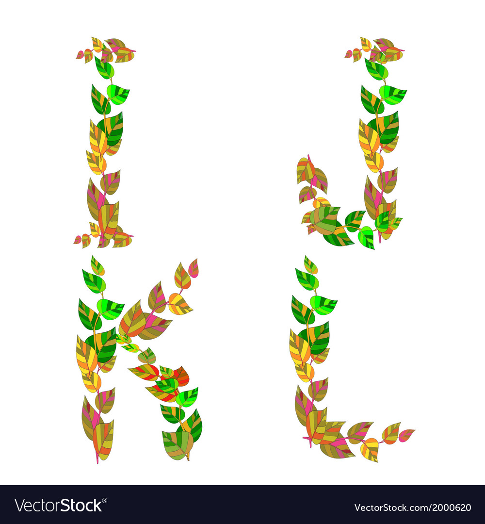 English alphabet made up of branches and leaves vector | Price: 1 Credit (USD $1)