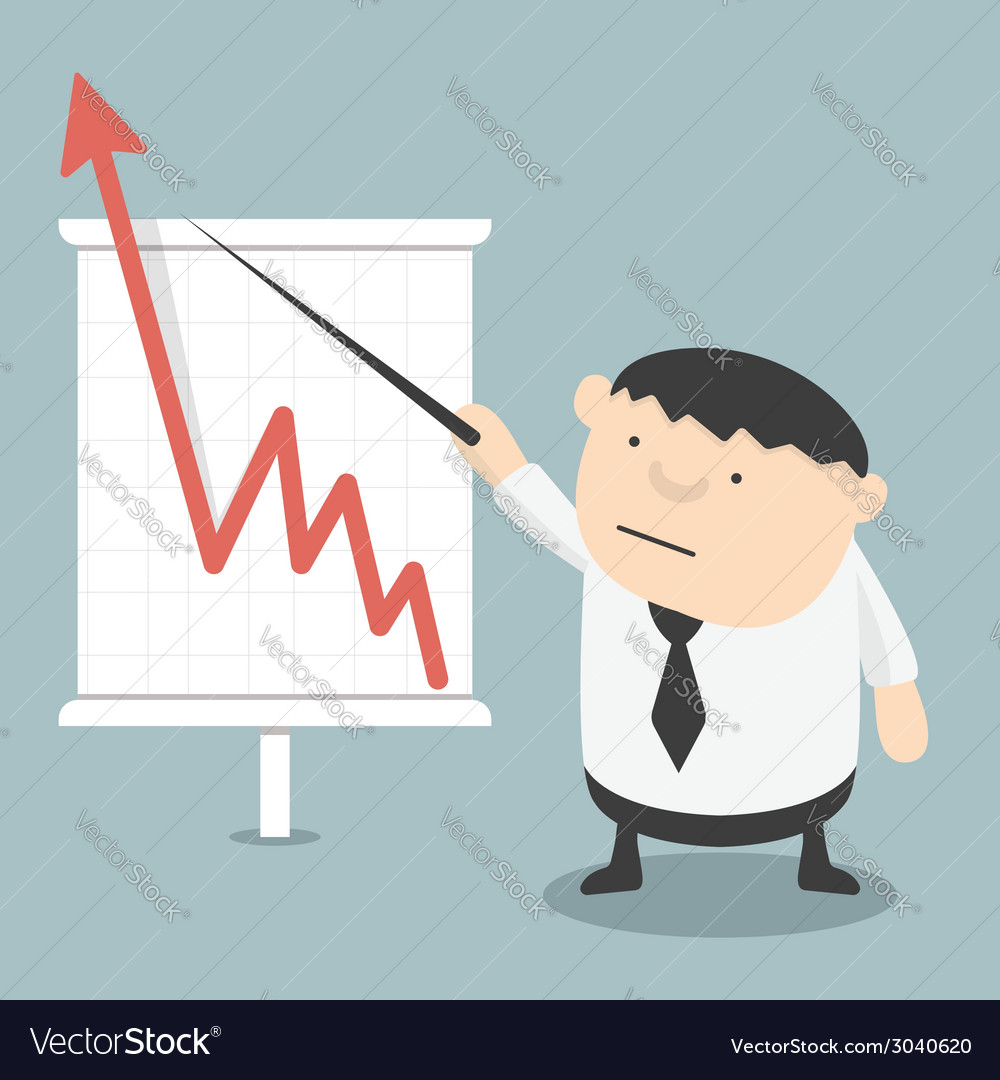 Fat businessman pointing growing a presentation vector | Price: 1 Credit (USD $1)
