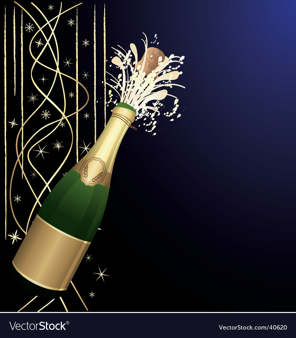 Festive open champagne vector | Price: 1 Credit (USD $1)