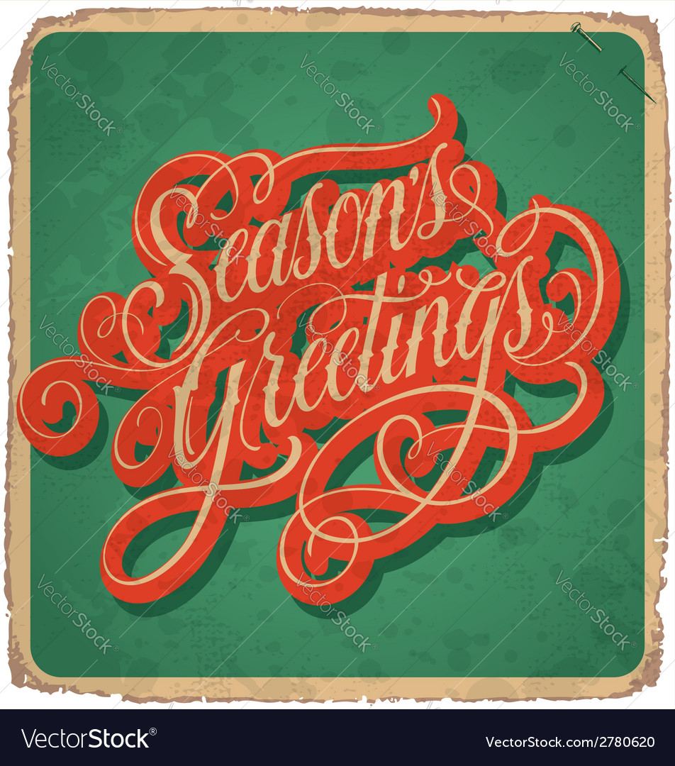 Hand lettered vintage christmas card vector | Price: 1 Credit (USD $1)