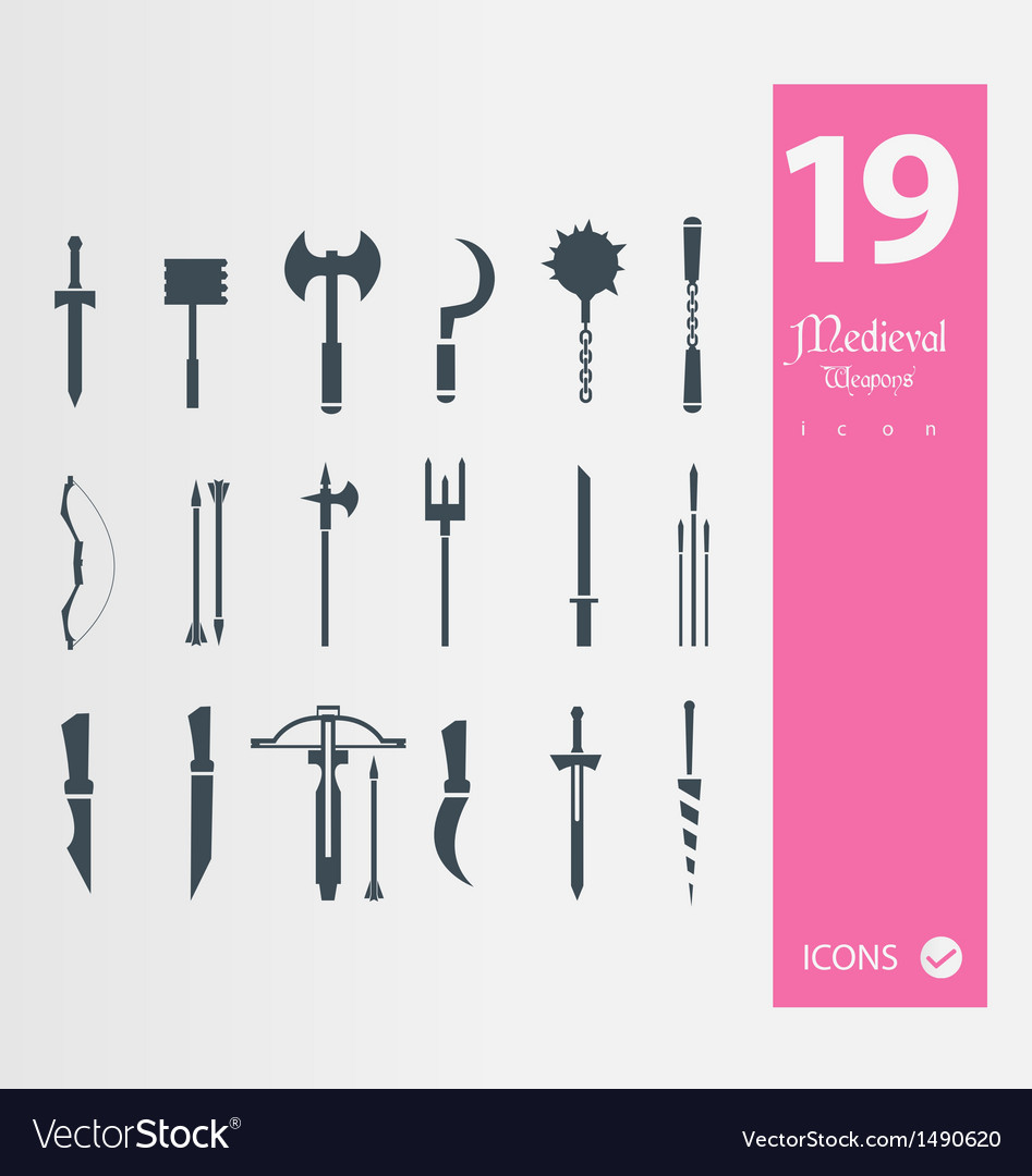 Medieval weapons icons vector | Price: 1 Credit (USD $1)