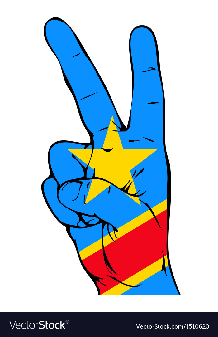 Peace sign of the congo flag vector | Price: 1 Credit (USD $1)