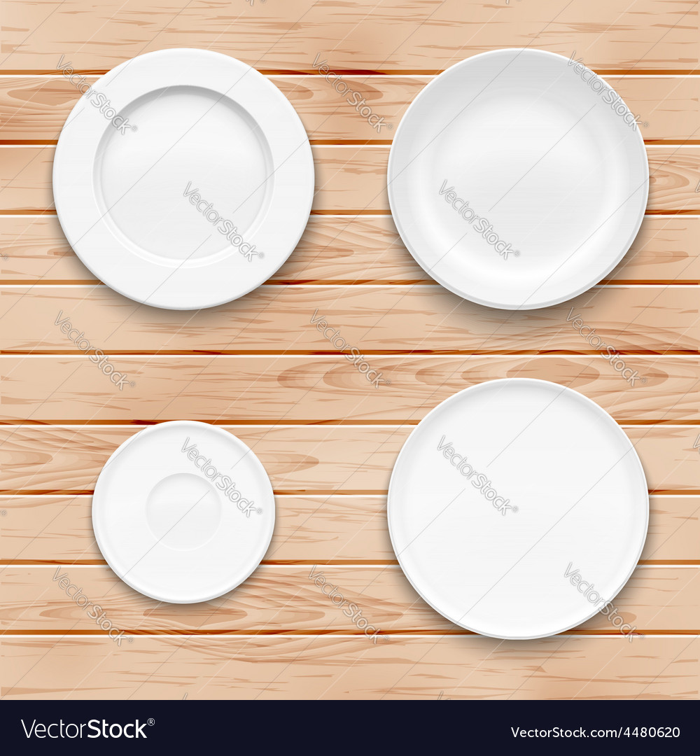 White plate set on wooden background kitchen vector | Price: 3 Credit (USD $3)