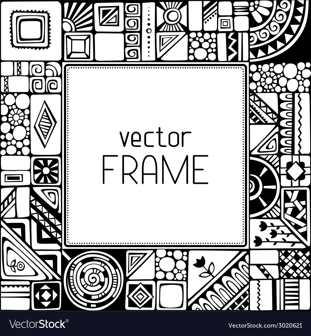 Black and white geometric frame vector | Price: 1 Credit (USD $1)