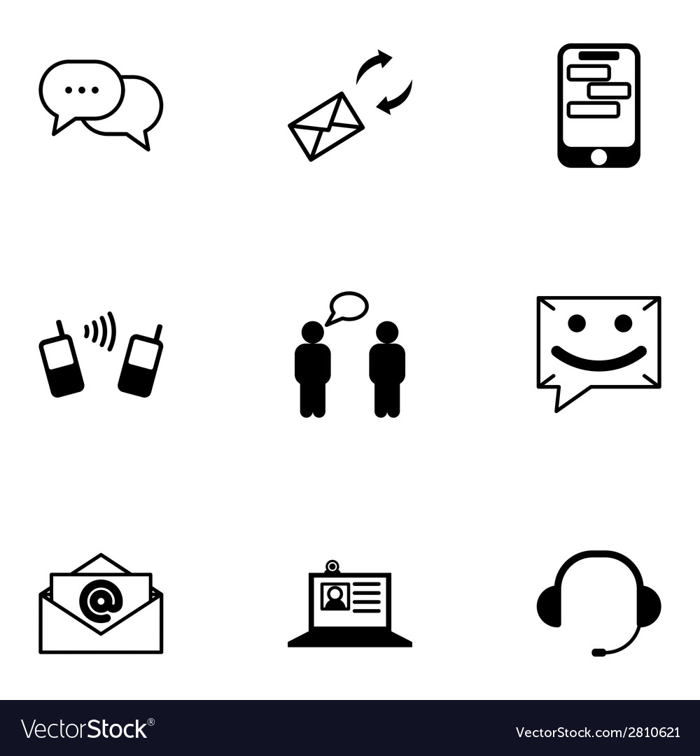 Black communication icons set vector | Price: 1 Credit (USD $1)