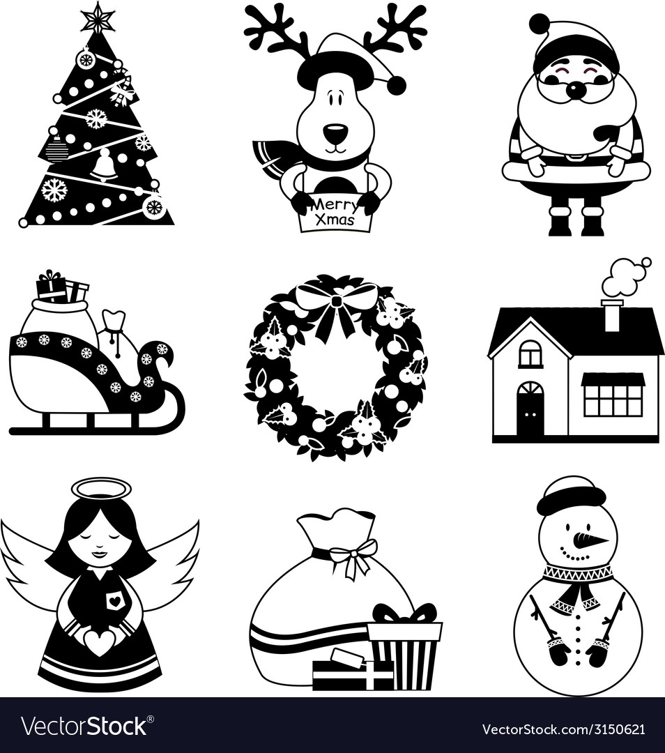 Christmas icons black and white vector | Price: 1 Credit (USD $1)