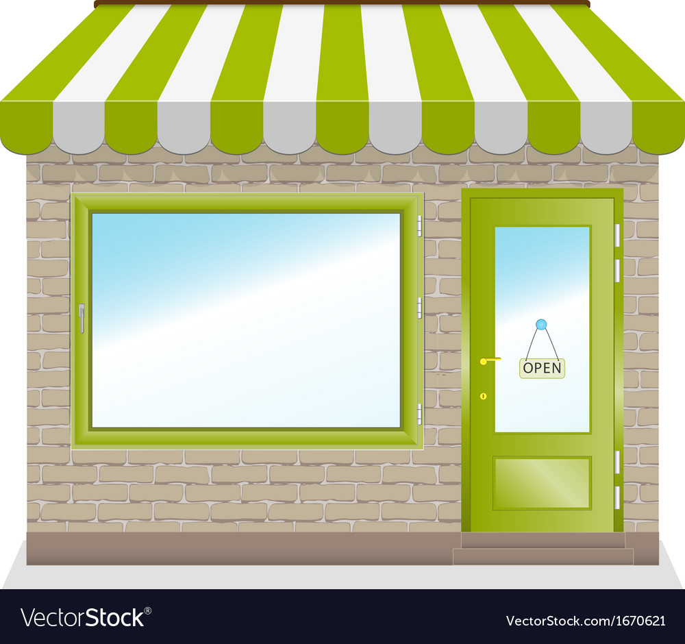 Cute shop icon with green awnings vector | Price: 1 Credit (USD $1)