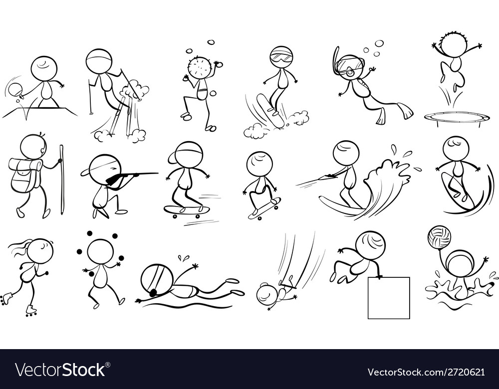 Doodle design of people engaging in different vector | Price: 1 Credit (USD $1)