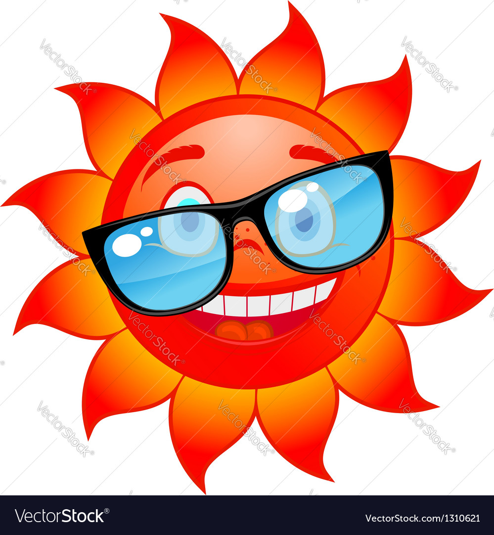 Happy sun in sunglasses vector | Price: 1 Credit (USD $1)