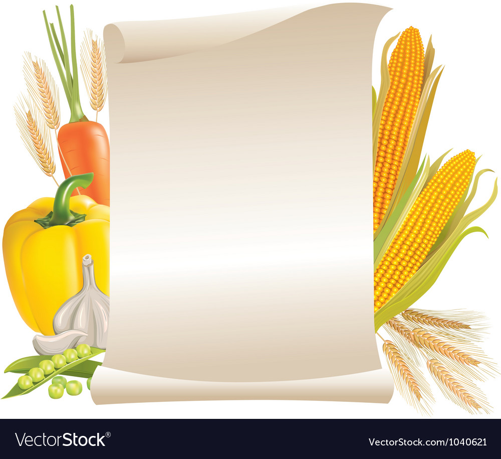 Harvest cereals and vegetable scroll vector | Price: 1 Credit (USD $1)