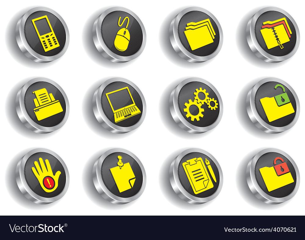 Metal web icon set vector | Price: 1 Credit (USD $1)