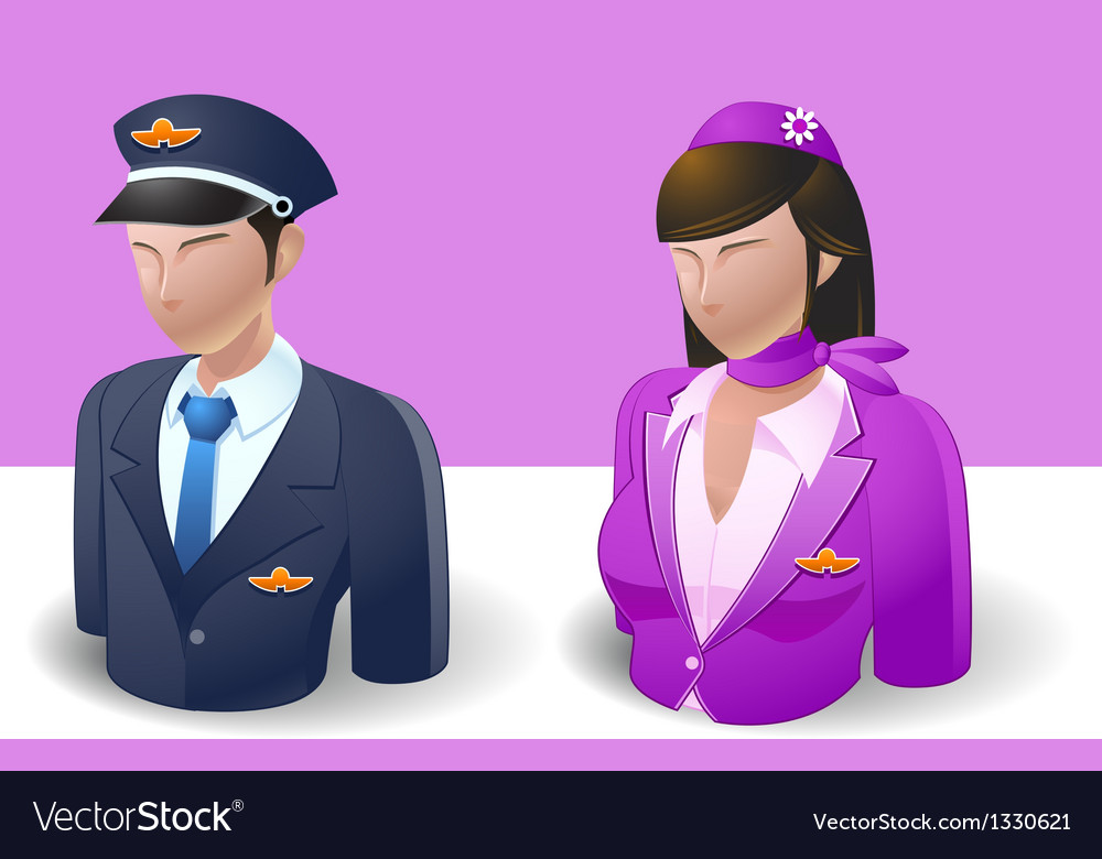 People icons captain and air hostess vector | Price: 3 Credit (USD $3)