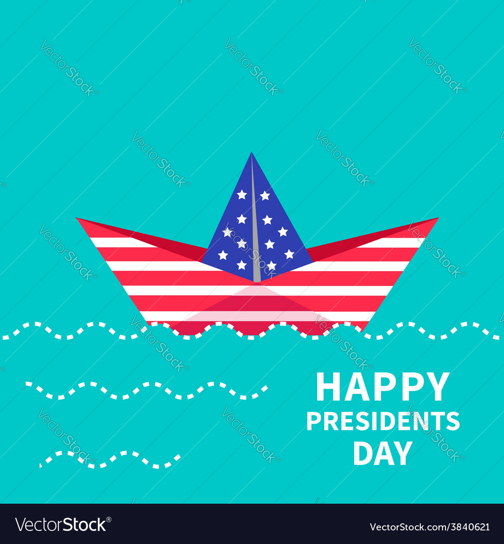 Presidents day background paper boat dash line vector   Price: 1 Credit (USD $1)