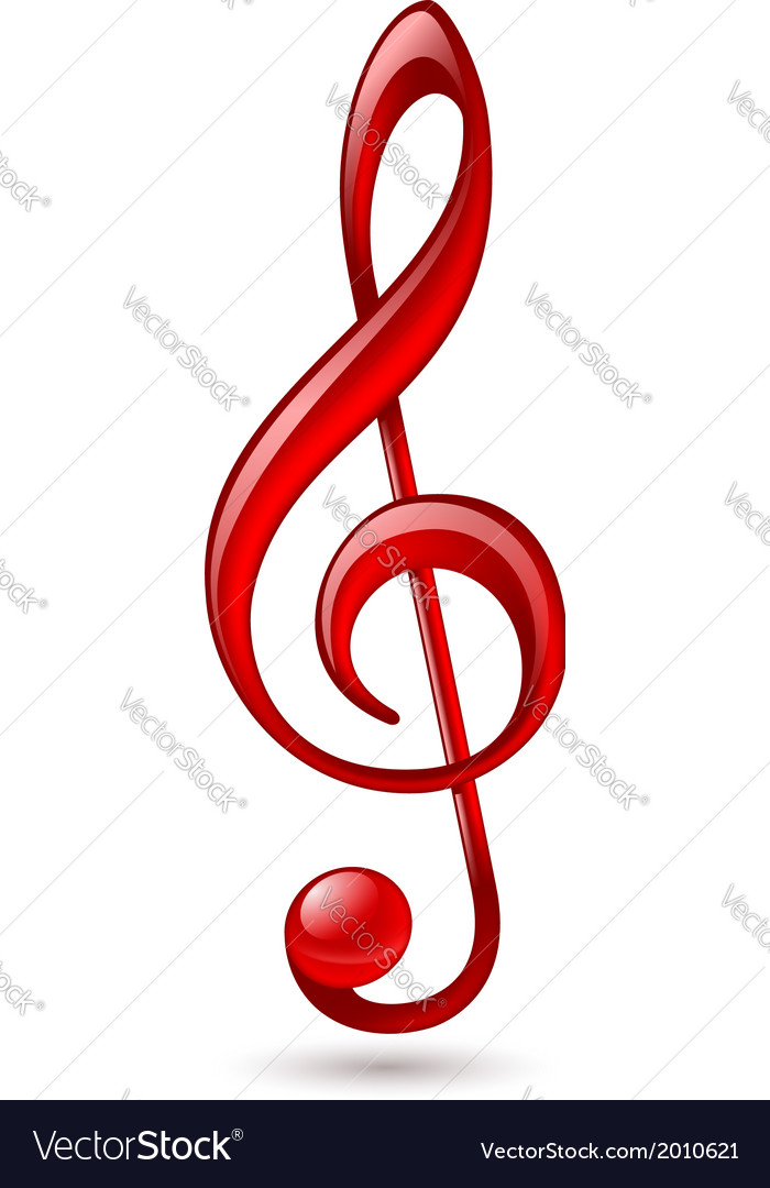 Red treble clef vector | Price: 1 Credit (USD $1)