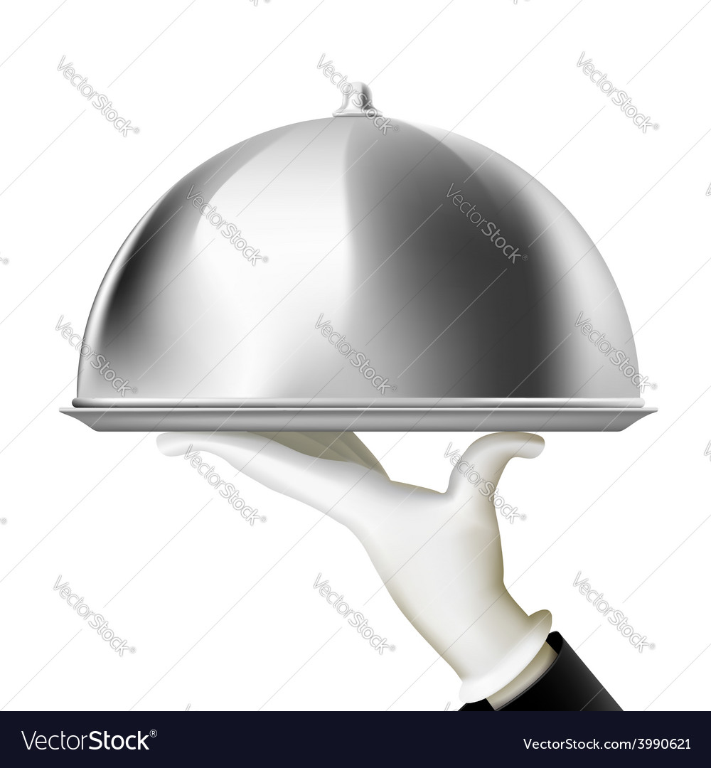 Restaurant cloche in hand the waiter vector | Price: 1 Credit (USD $1)