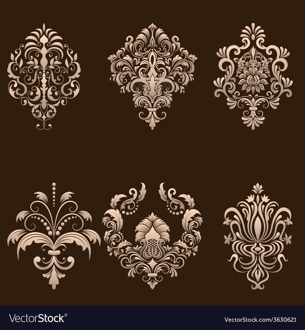 Set of damask ornamental elements vector | Price: 1 Credit (USD $1)