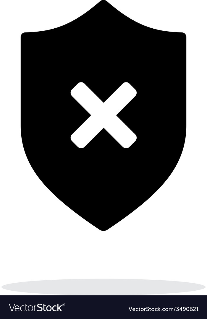 Shield with cross mark icon on white background vector | Price: 1 Credit (USD $1)