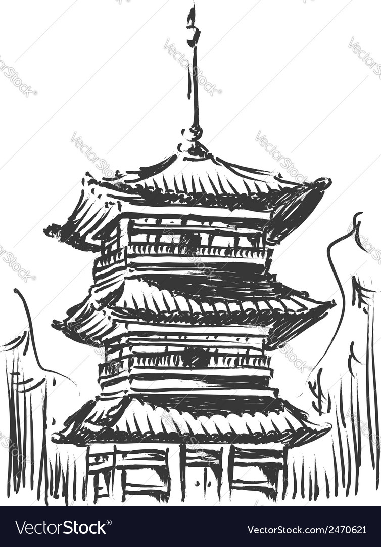 Sketch of japan landmark kiyomizu temple vector | Price: 1 Credit (USD $1)