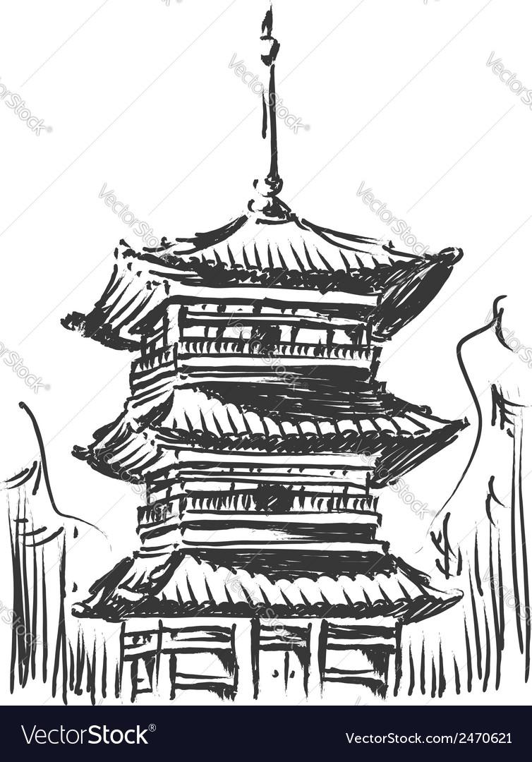 Sketch of japan landmark kiyomizu temple vector | Price: 1 Credit (USD $1)