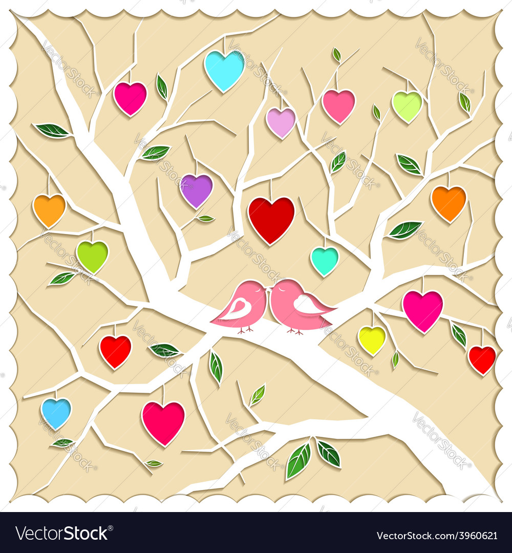 Springtime love tree and birds vector | Price: 1 Credit (USD $1)
