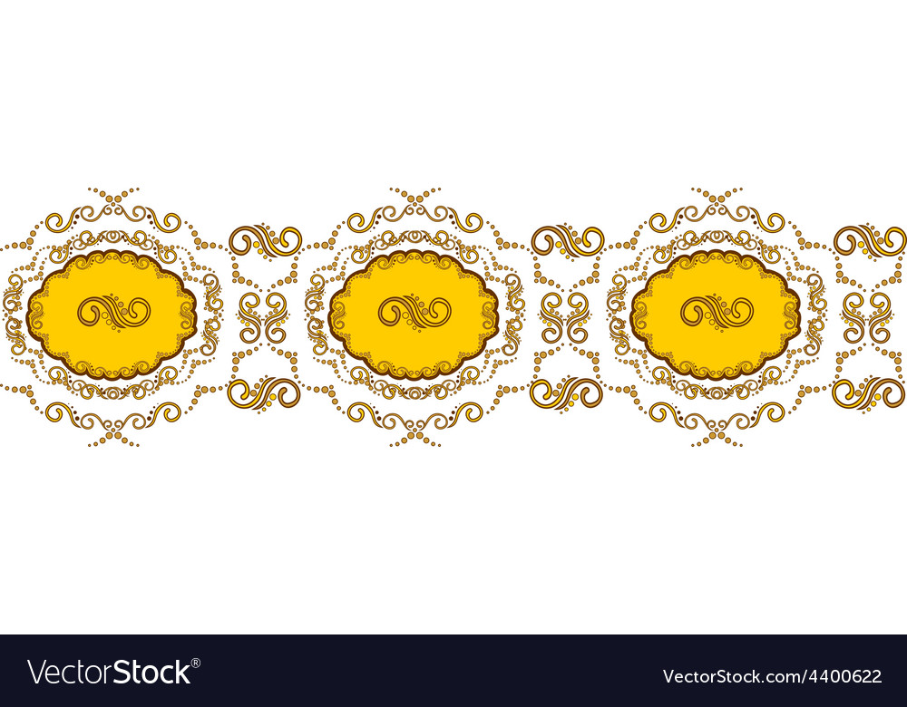 Beautiful border with golden vignettes vector | Price: 1 Credit (USD $1)