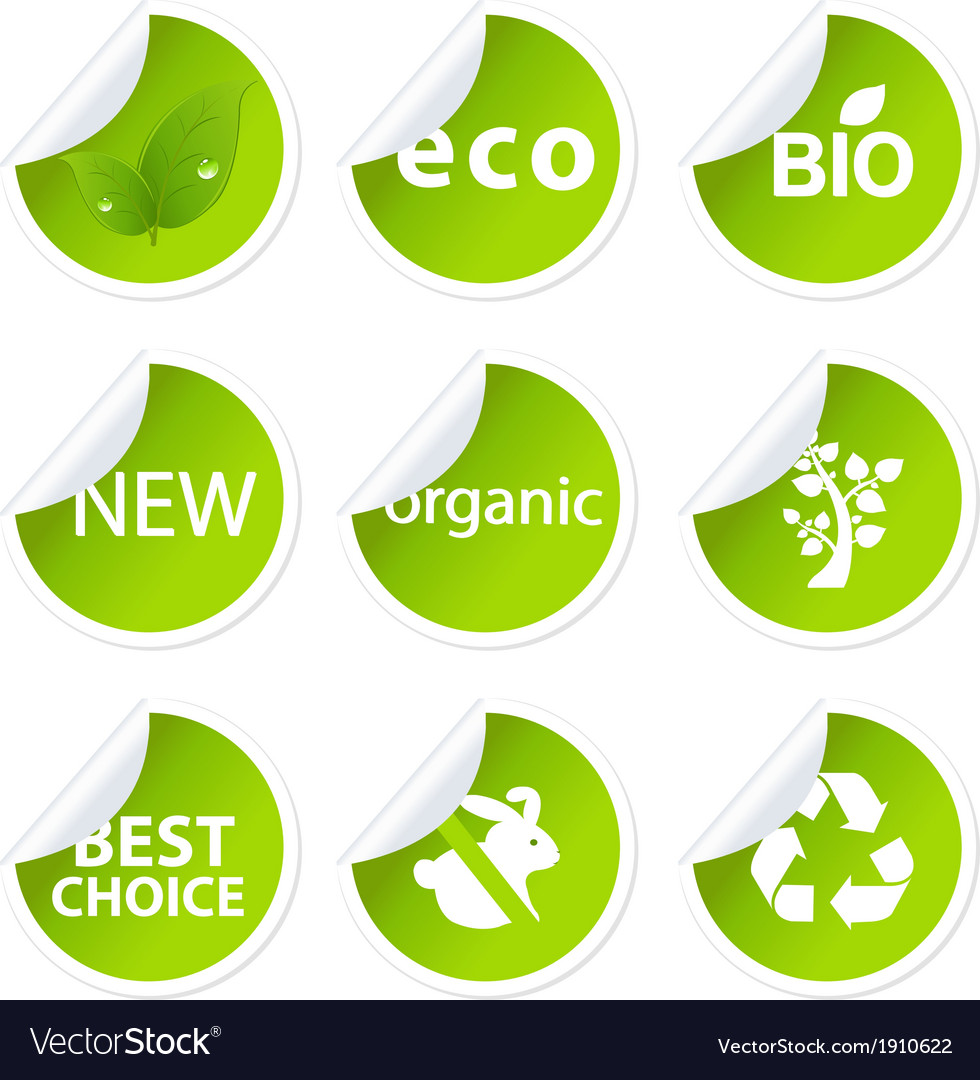 Eco sticker set vector | Price: 1 Credit (USD $1)