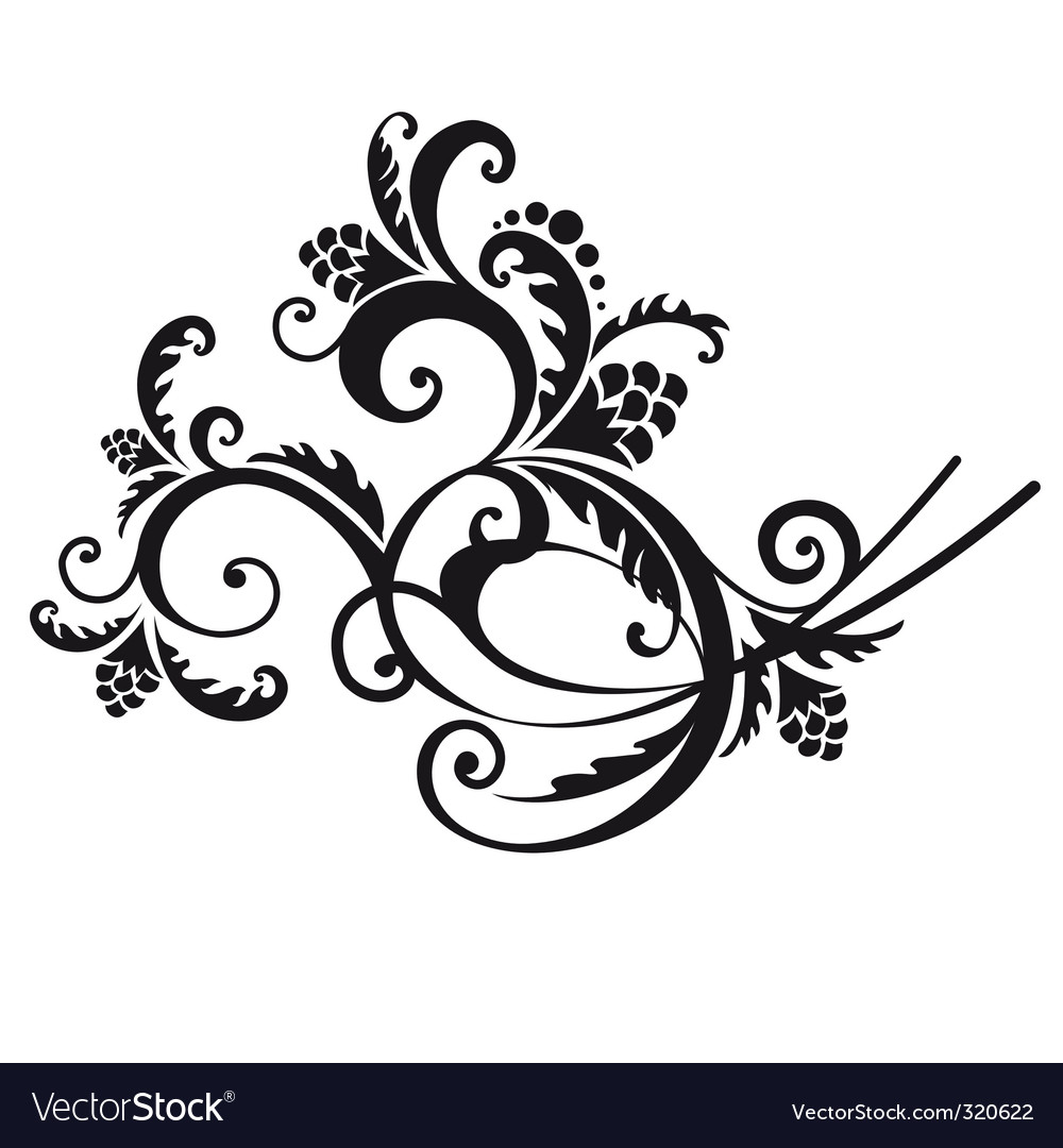 Floral swirl vector | Price: 1 Credit (USD $1)