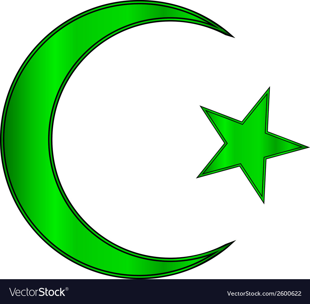 Green star and crescent icon vector | Price: 1 Credit (USD $1)