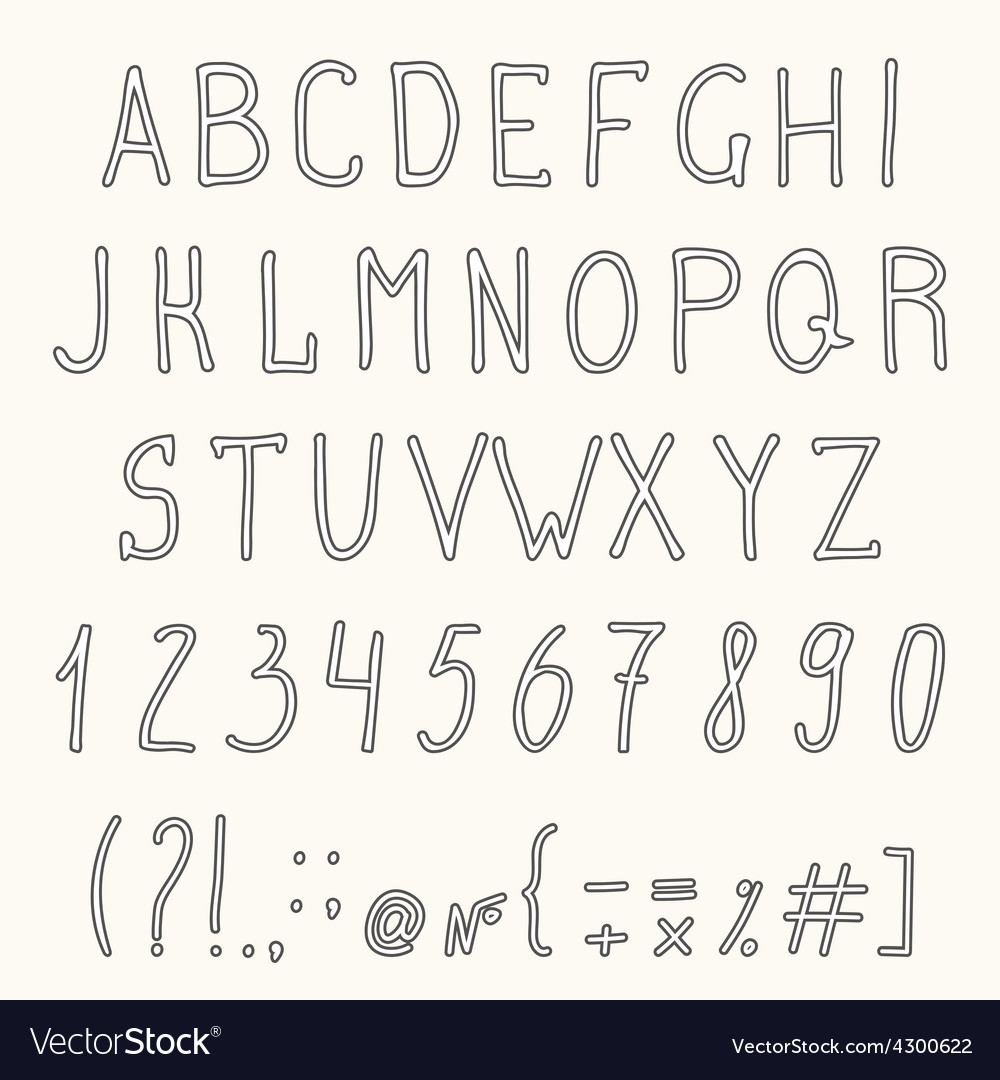 Hand drawn grunge font hand drawn letters vector | Price: 1 Credit (USD $1)