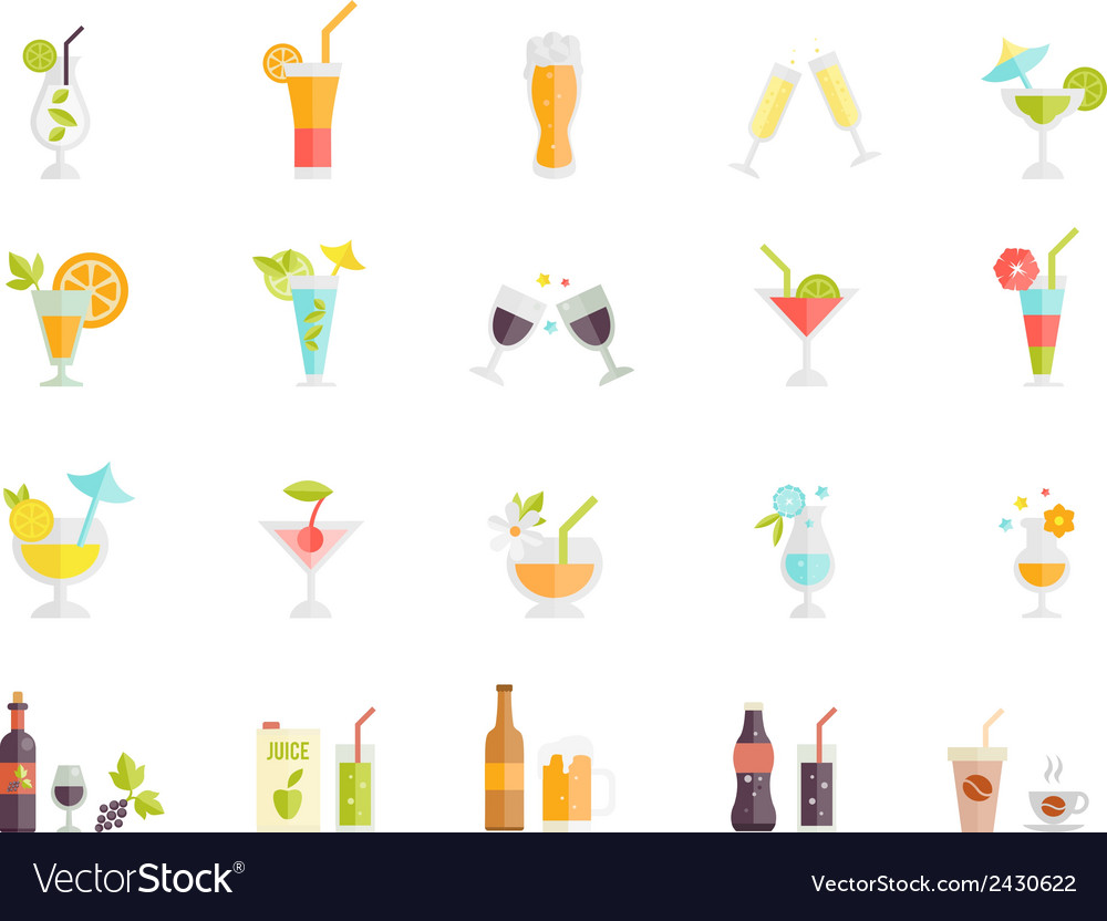 Icons of cocktails and drinks vector | Price: 1 Credit (USD $1)