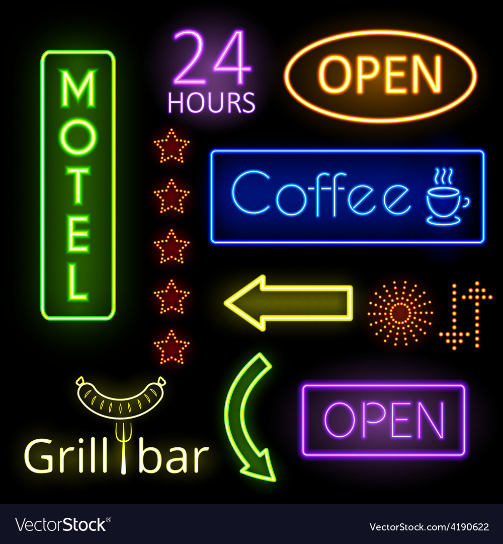 Neon glow signs vector | Price: 1 Credit (USD $1)