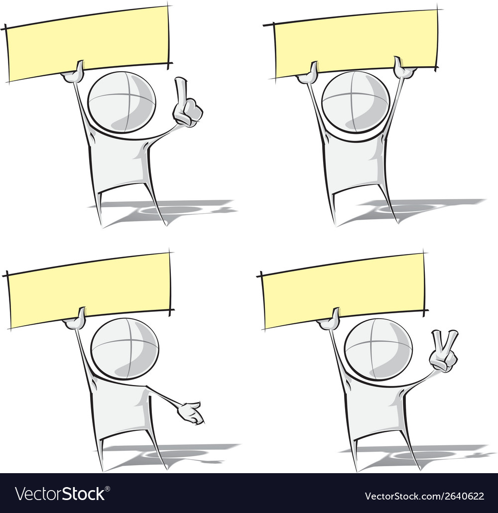 Simple people holding up a label vector | Price: 1 Credit (USD $1)