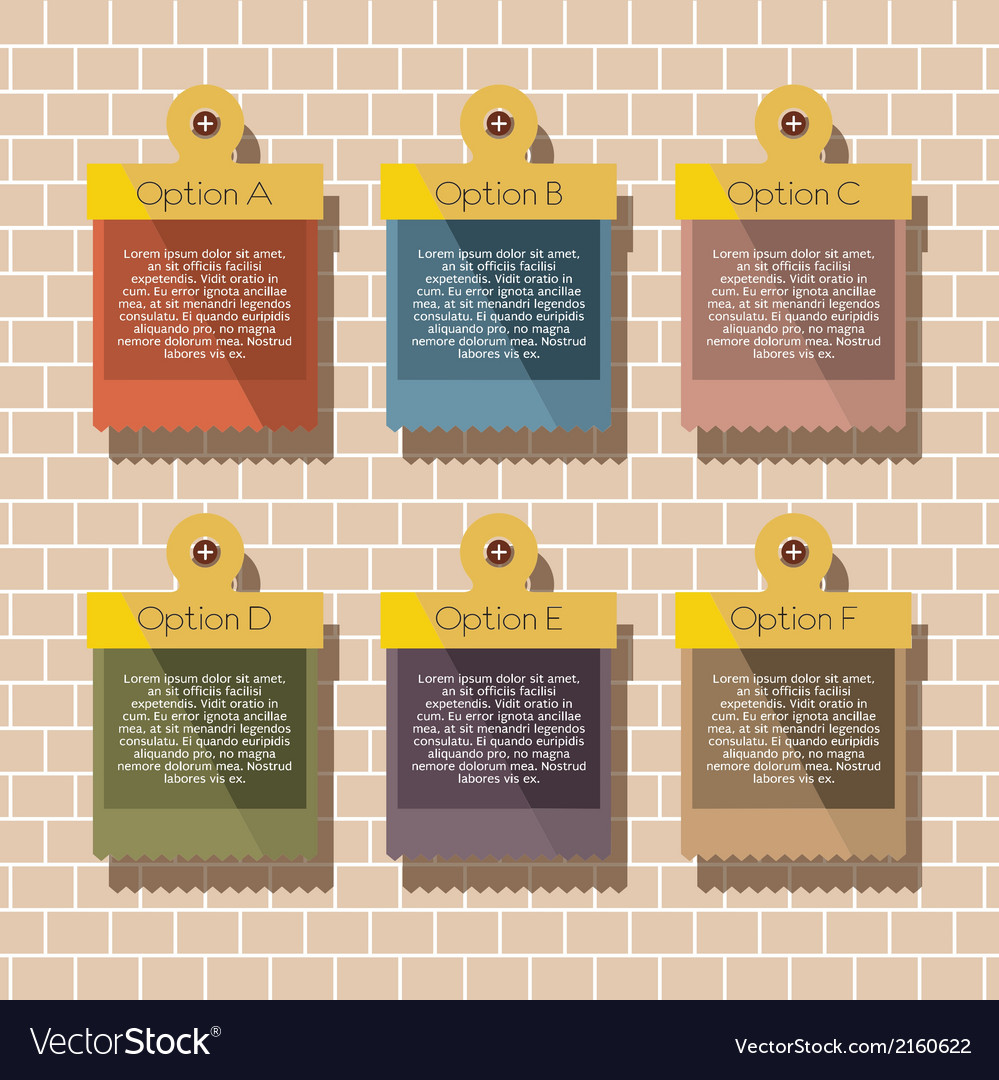 Square banners hang on brick wall vector | Price: 1 Credit (USD $1)